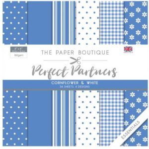 The Paper Boutique Perfect Partners 8″ x 8″ Pad – Cornflower & White