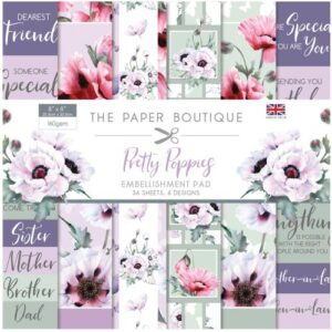 The Paper Boutique Pretty Poppies – 8″ x 8″ Embellishments Pad