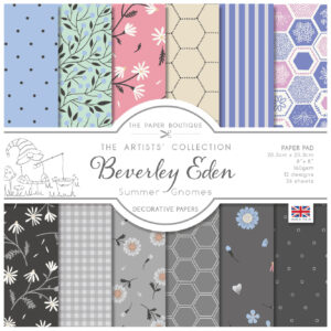 The Paper Boutique Artists' Collection – Beverley Eden – Summer Gnomes 8″ x 8″ Paper Pad
