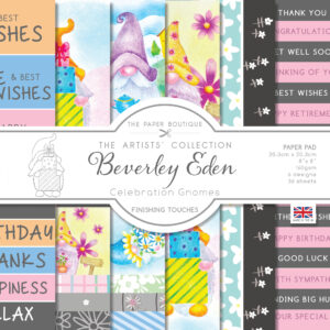 The Paper Boutique Artists' Collection – Beverley Eden – Celebration Gnomes Finishing Touches Pad – Available 31st July