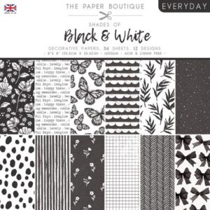 The Paper Boutique – Shades of Black & White – 8″ x 8″ Paper Pad