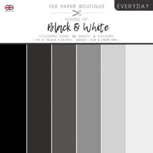 The Paper Boutique – Shades of Black & White – Coloured Card Pack