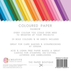 The Paper Boutique – Everyday Coloured Paper – Rainbow Packs 6″ x 6″