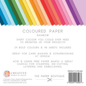 The Paper Boutique – Everyday Coloured Paper – Rainbow Packs 8″ x 8″