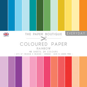 The Paper Boutique – Everyday Coloured Paper – Rainbow Packs 12″ x 12″