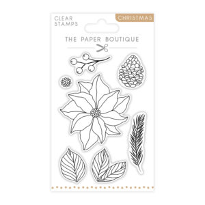 The Paper Boutique A6 Christmas Stamps – Poinsettia – Set of 7