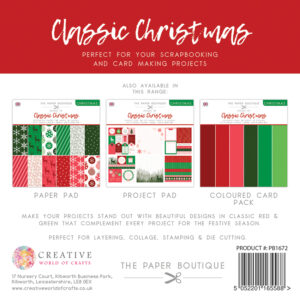 The Paper Boutique – Shades of Christmas – Classic Christmas 8″ x 8″ Coloured Card Pack