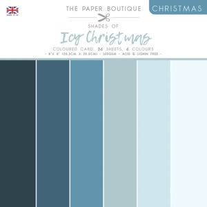 The Paper Boutique – Shades of Christmas – Icy Christmas 8″ x 8″ Coloured Card Pack