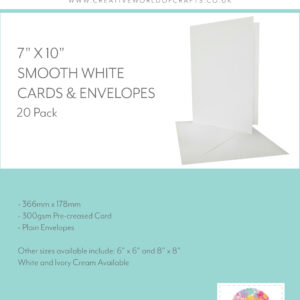 Cards & Envelopes – White 300gsm – 7 x 10″ – Pack of 20