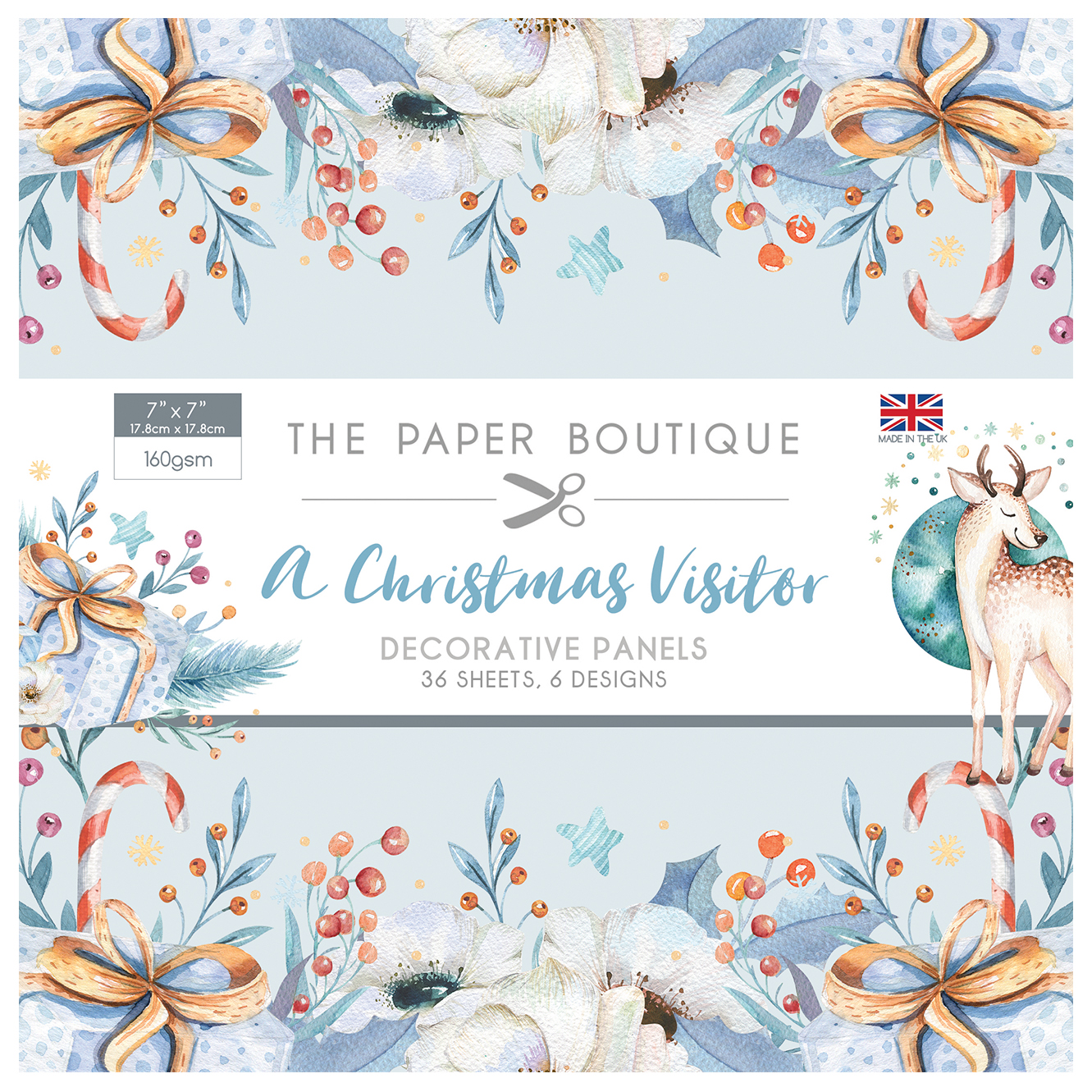 The Paper Boutique A Christmas Visitor 7″ x 7″ Decorative Panel Pad