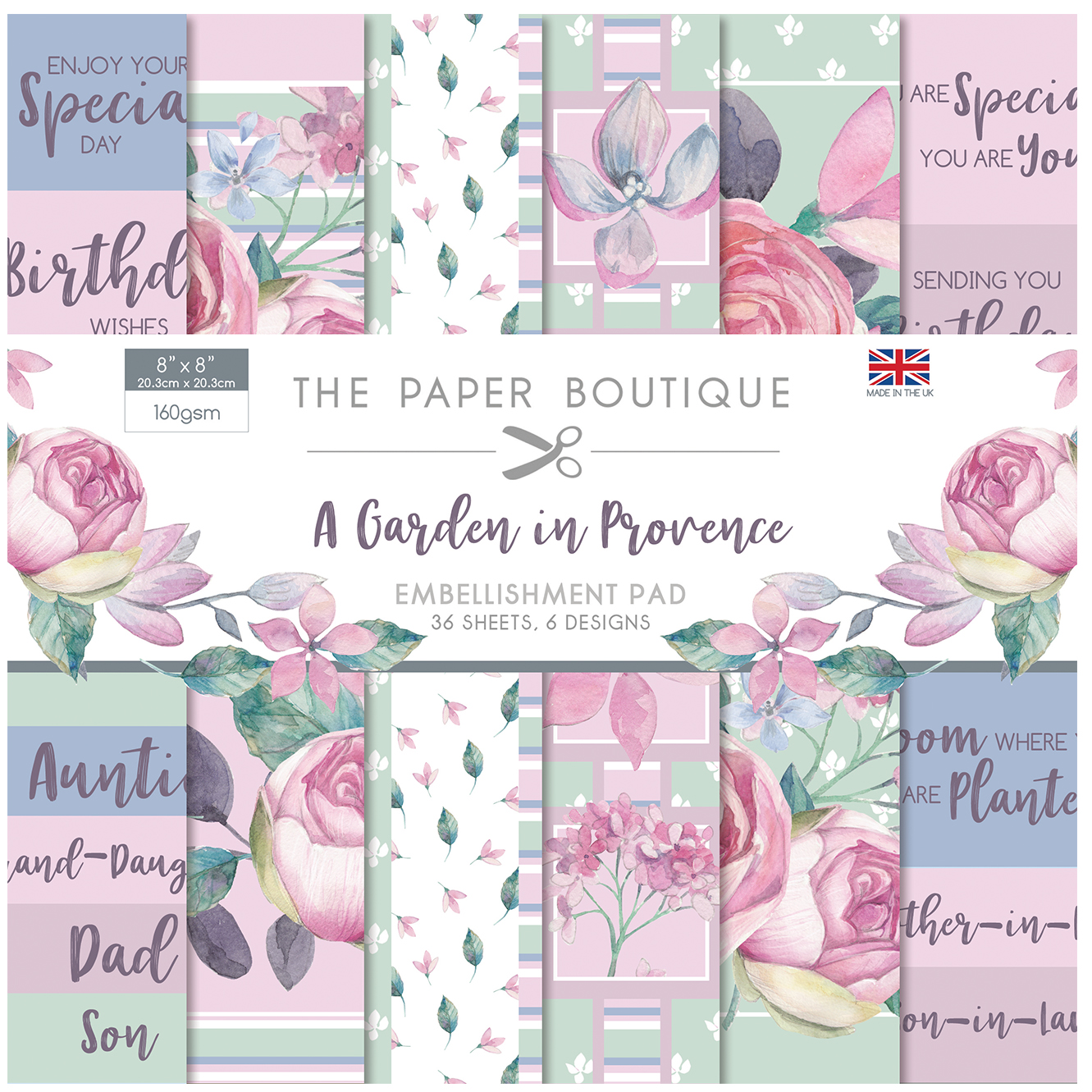 The Paper Boutique A Garden In Provence 8″ x 8″ Embellishment Pad