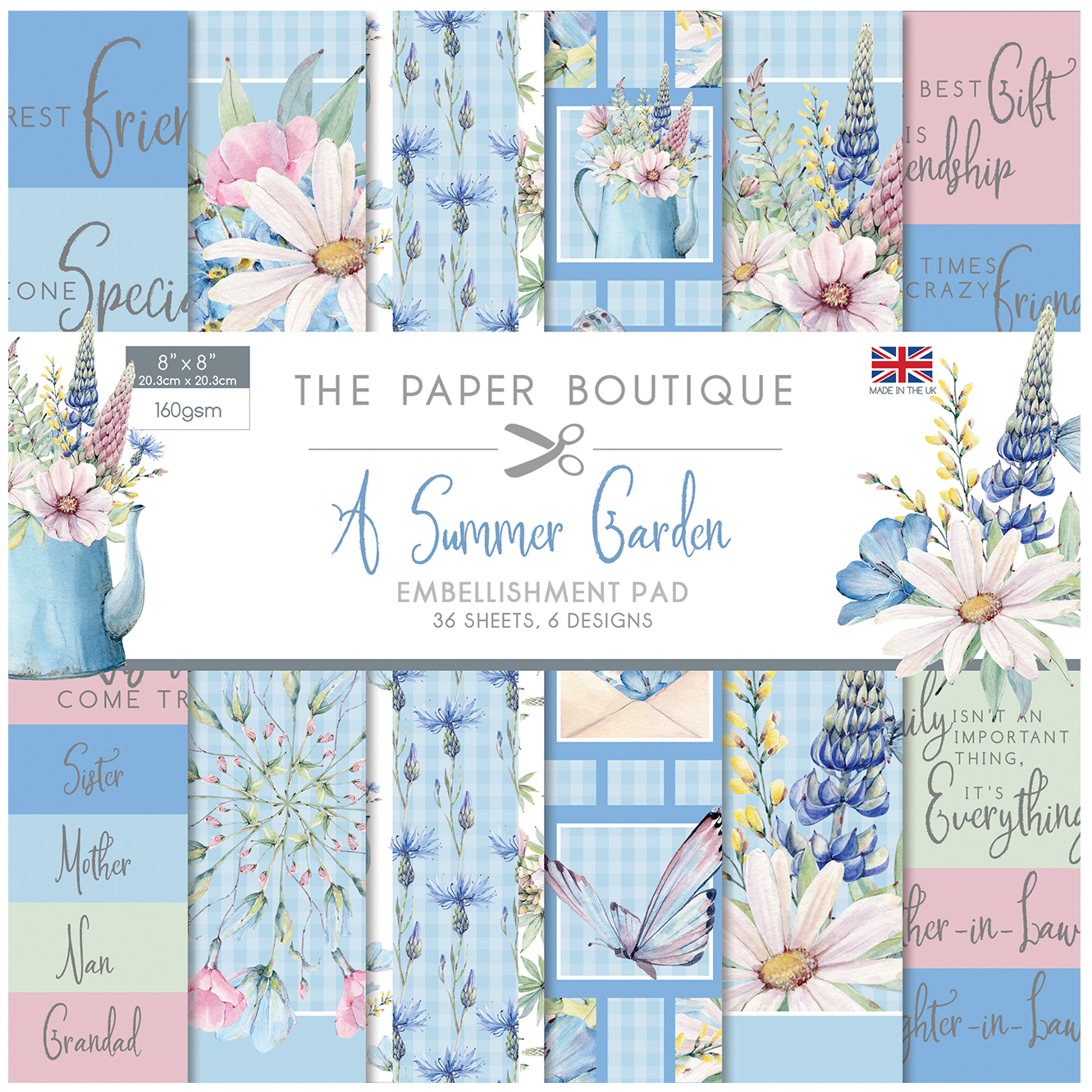The Paper Boutique A Summer Garden 8″ x 8″ Embellishment Pad
