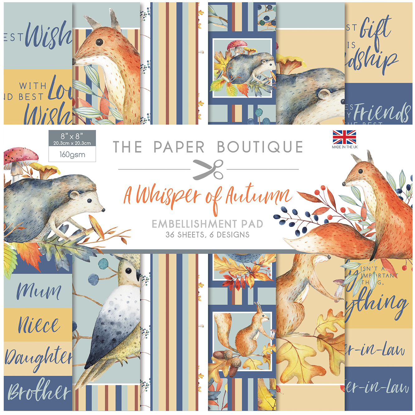 The Paper Boutique A Whisper of Autumn 8″ x 8″ Embellishment Pad