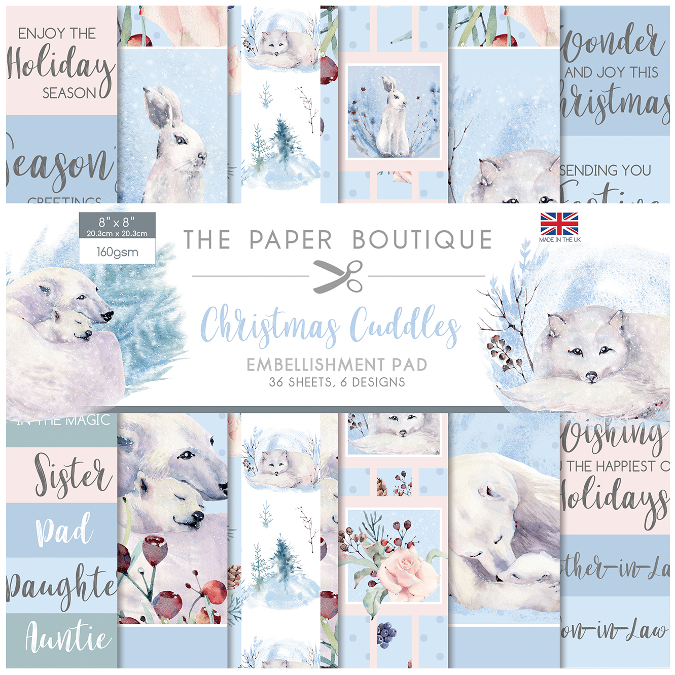 The Paper Boutique Christmas Cuddles 8″ x 8″ Embellishment Pad