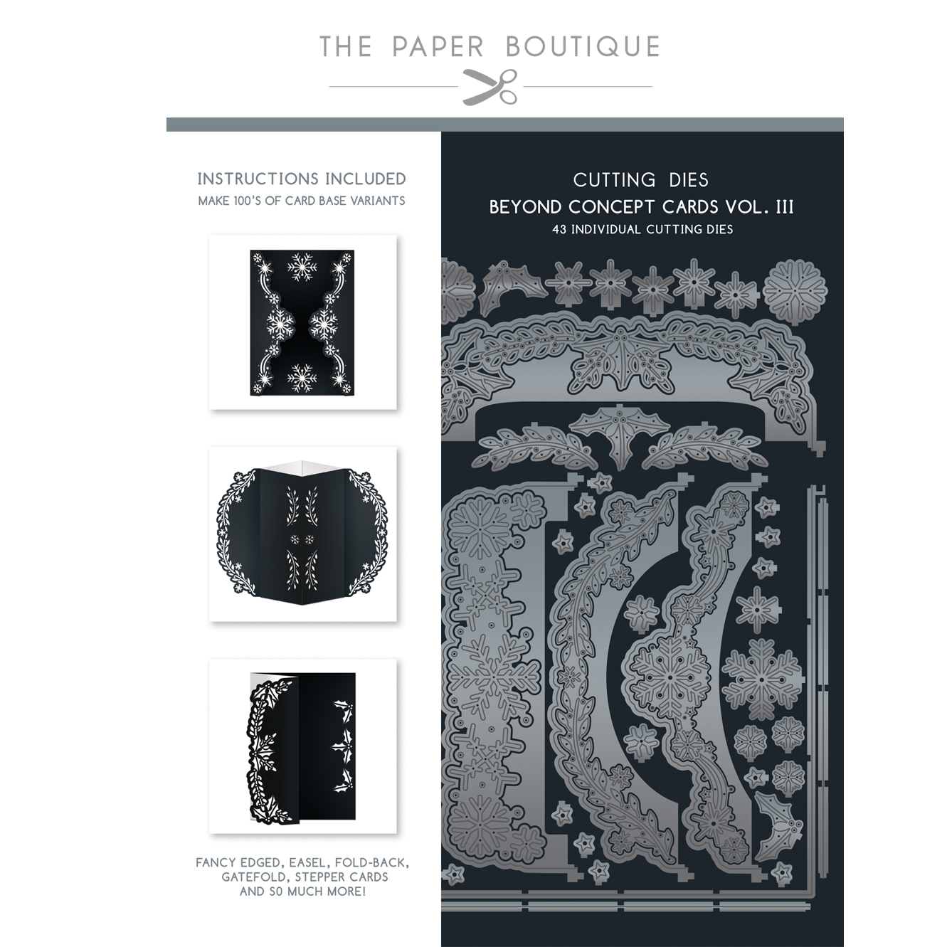 The Paper Boutique Concept Dies Vol III – 7″ x 5″ Christmas Concept Cards – 43 individual dies