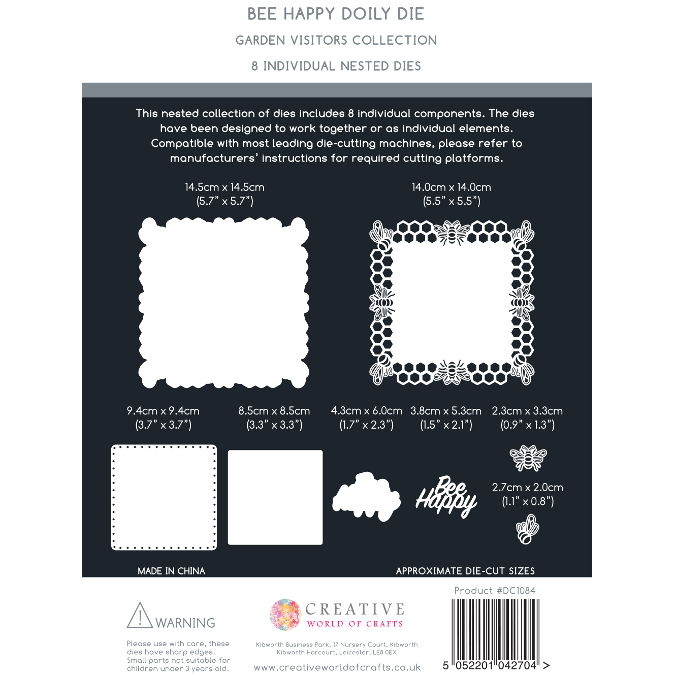 The Paper Boutique Garden Visitors – Bee Happy Doily Die & Sentiment Collection