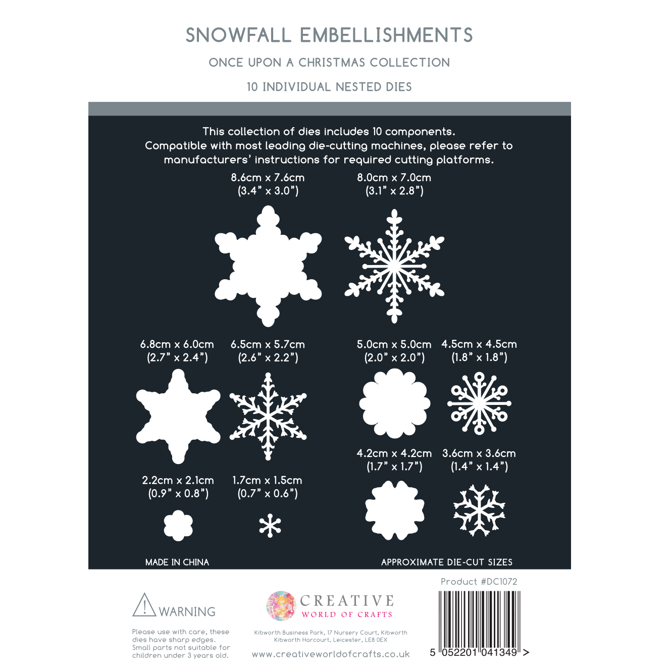 The Paper Boutique Once Upon A Christmas – Snowfall Embellishments Cutting Die