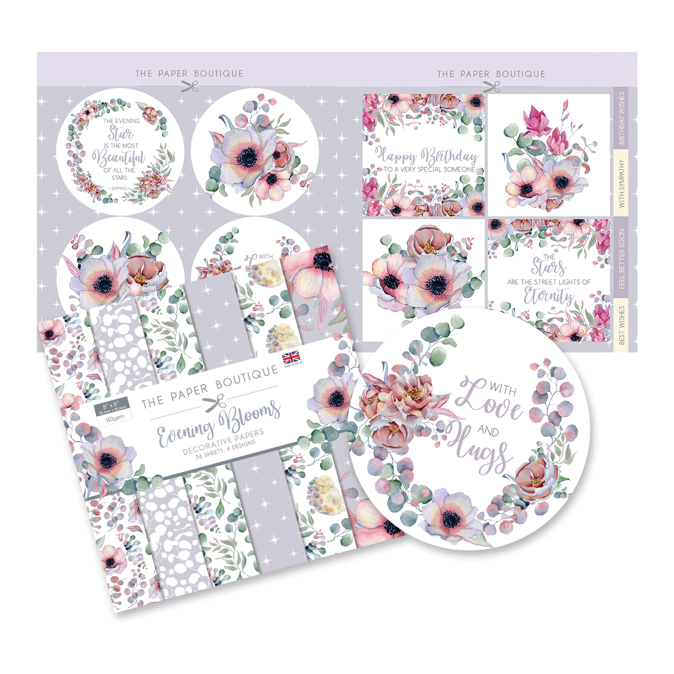 The Paper Boutique Evening Blooms 8″ x 8″ Paper Kit