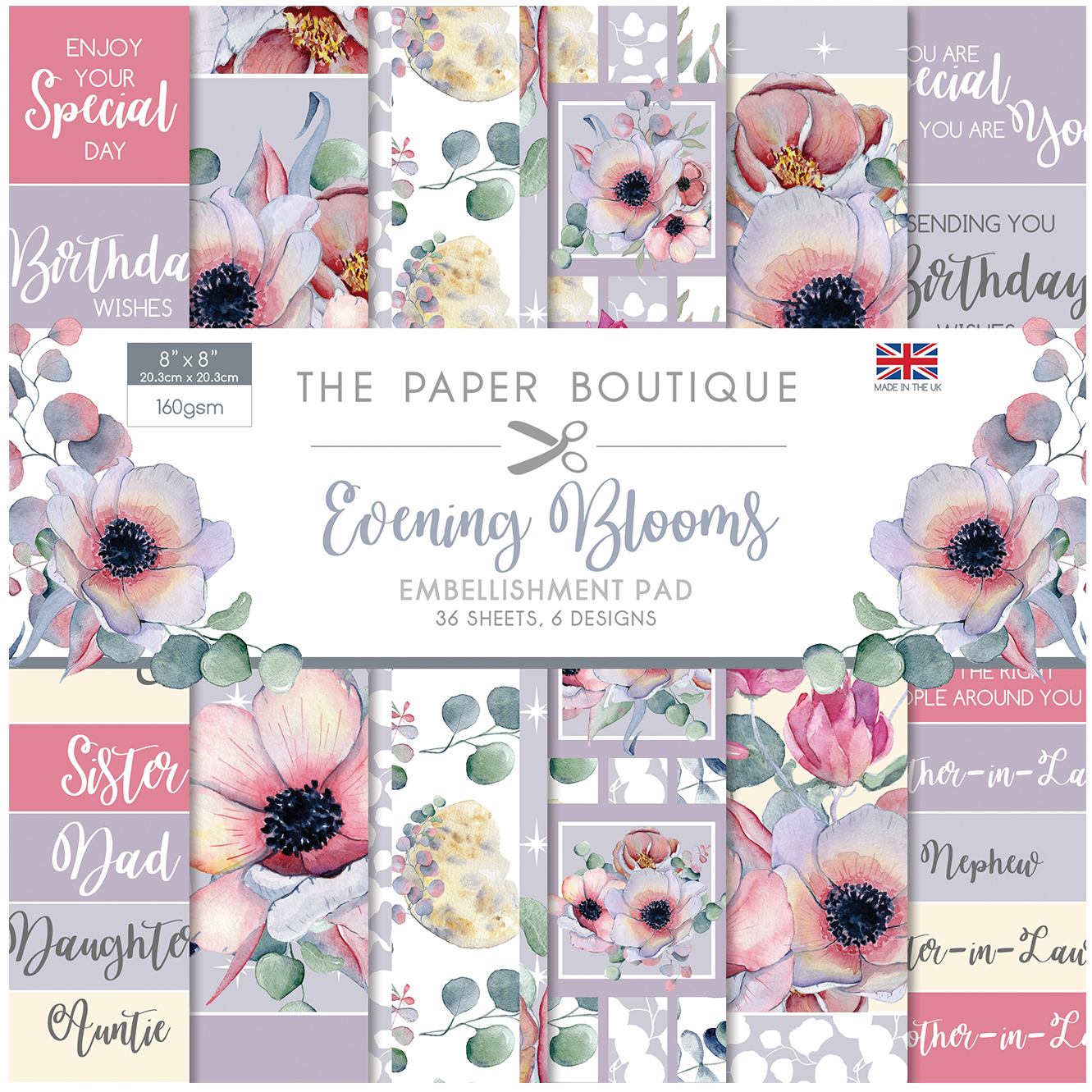 The Paper Boutique Evening Blooms 8″ x 8″ Embellishment Pad