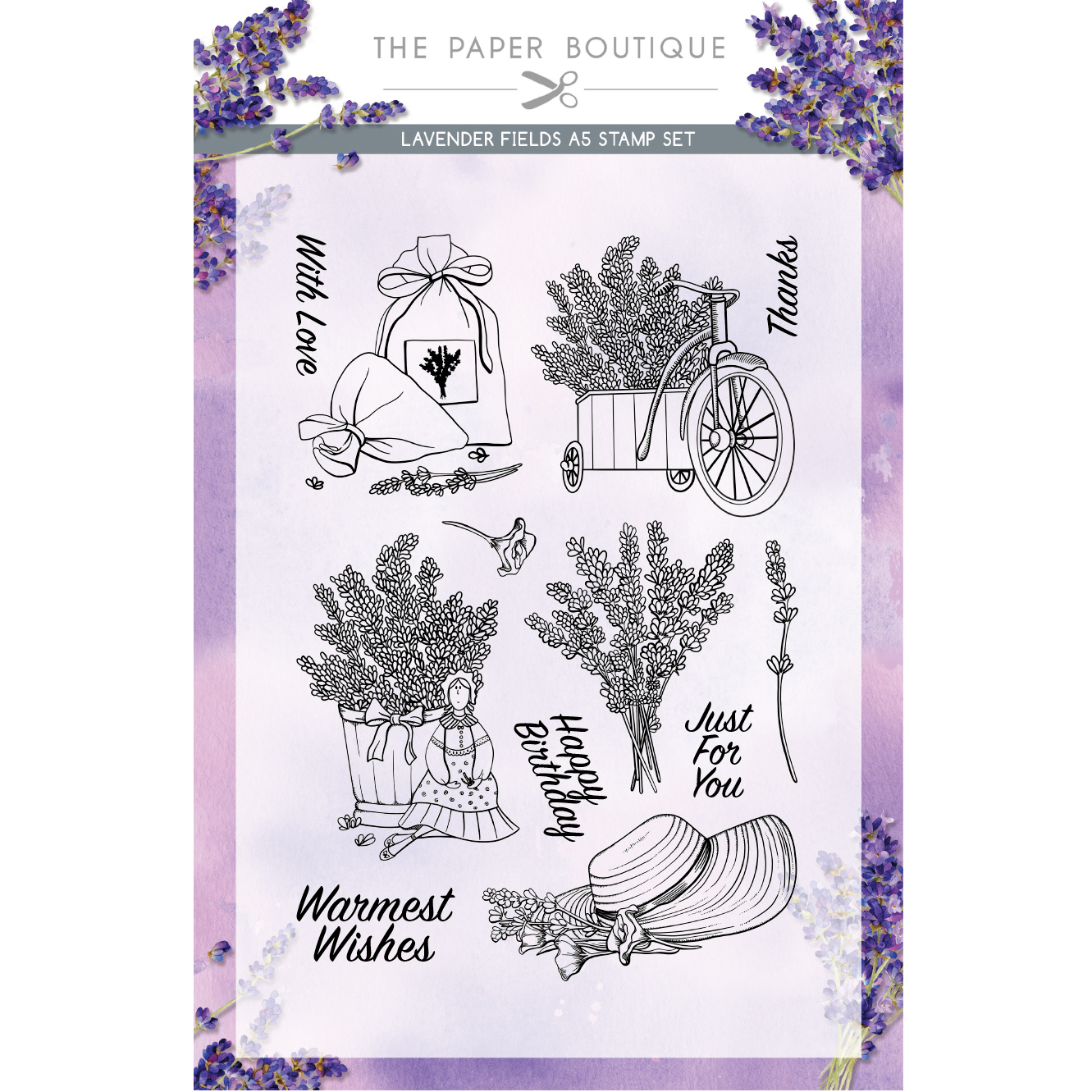 The Paper Boutique Lavender Fields A5 Stamp Set