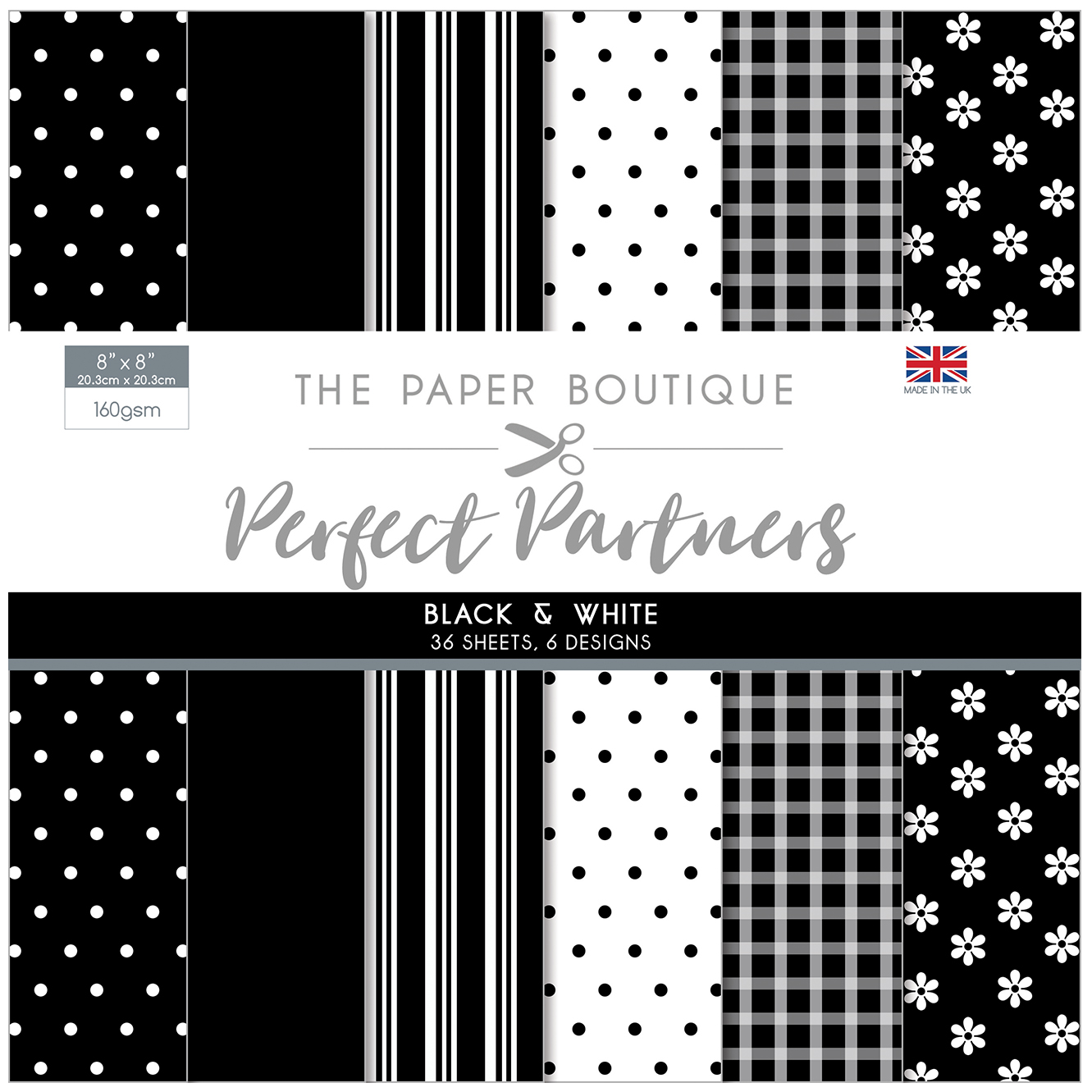 The Paper Boutique Perfect Partners 8″ x 8″ Pad – Black & White