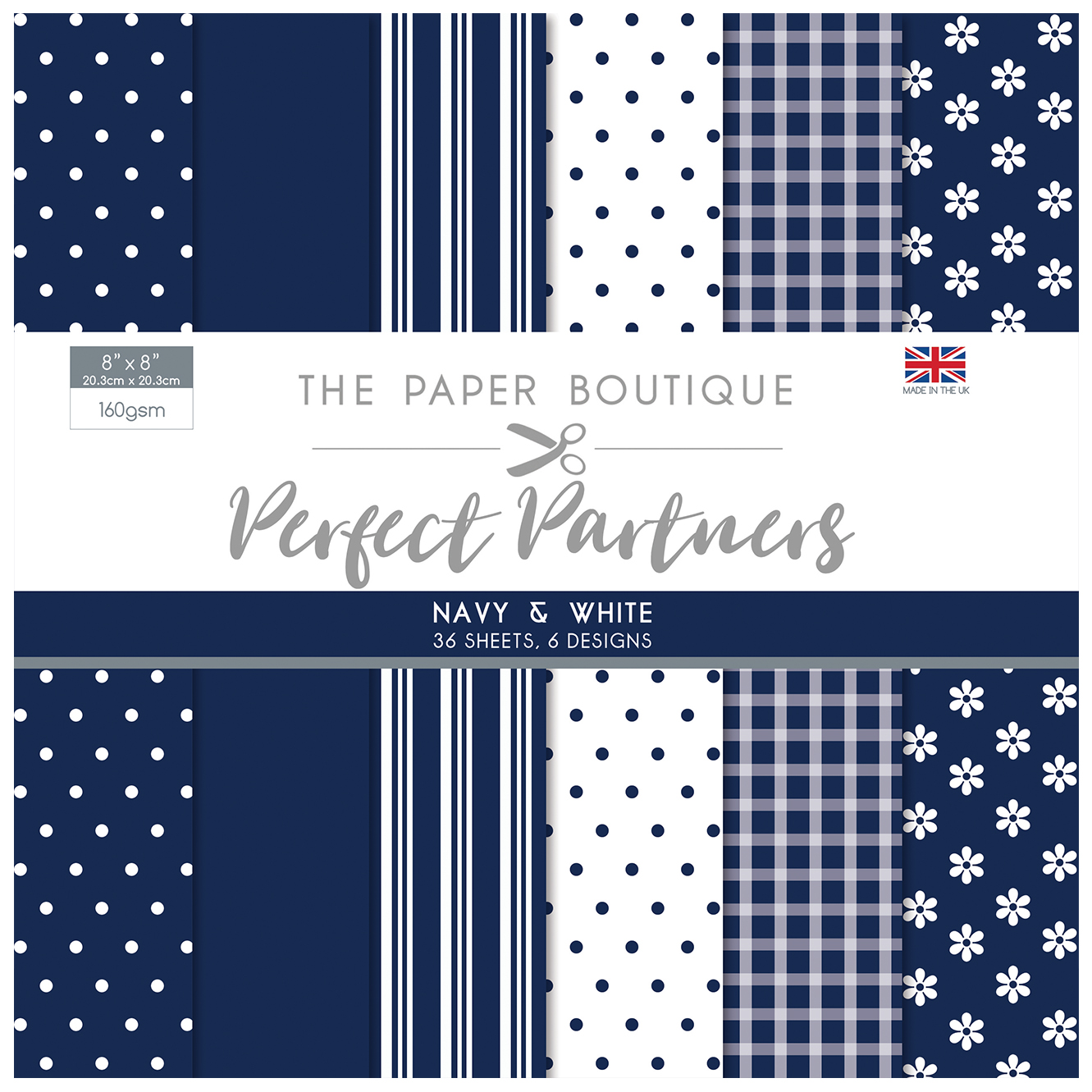 The Paper Boutique Perfect Partners Pad 8″ x 8″ Pad – Navy & White