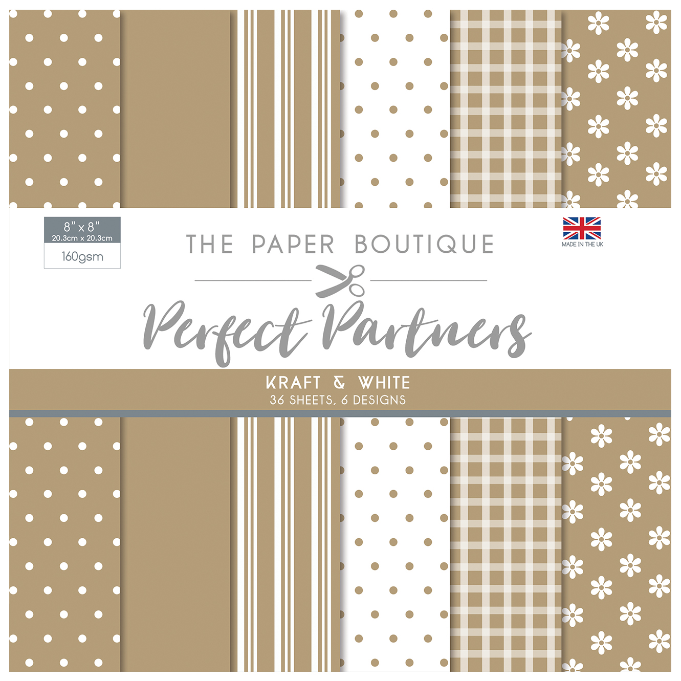 The Paper Boutique Perfect Partners  8″ x 8″ Pad – Kraft & White