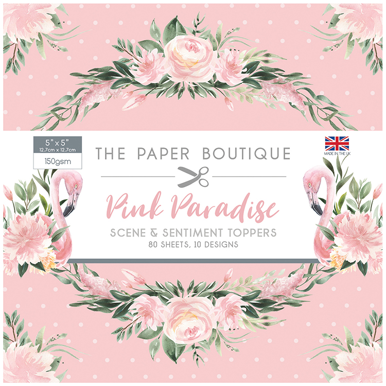 The Paper Boutique Pink Paradise 5″ x 5″ Scene & Sentiment Topper Pad