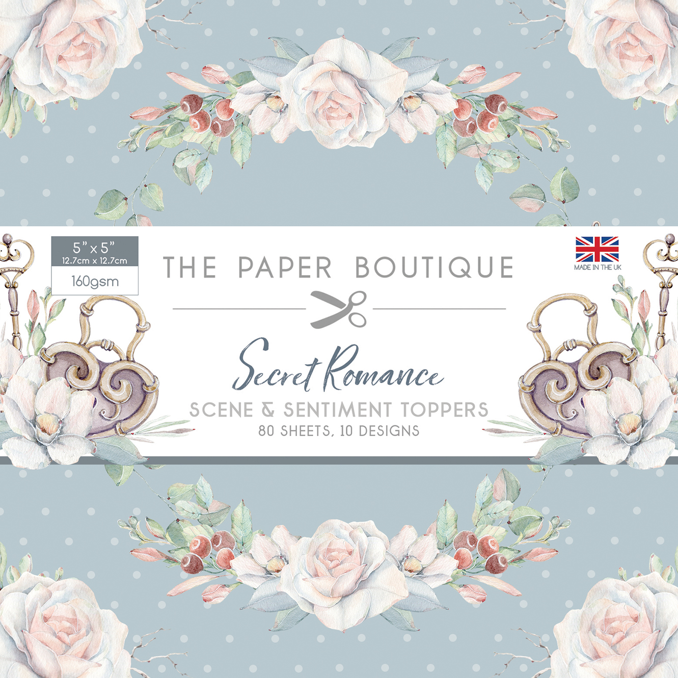 The Paper Boutique Secret Romance 5″ x 5″ Scene & Sentiment Topper Pad