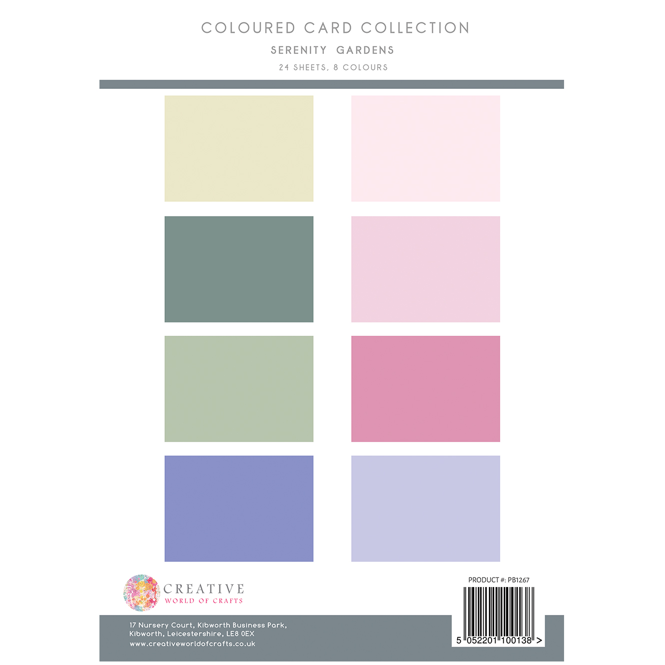 The Paper Boutique Serenity Gardens Coloured Card Collection
