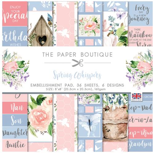 The Paper Boutique Spring Whispers  8″ x 8″ Embellishment Pad