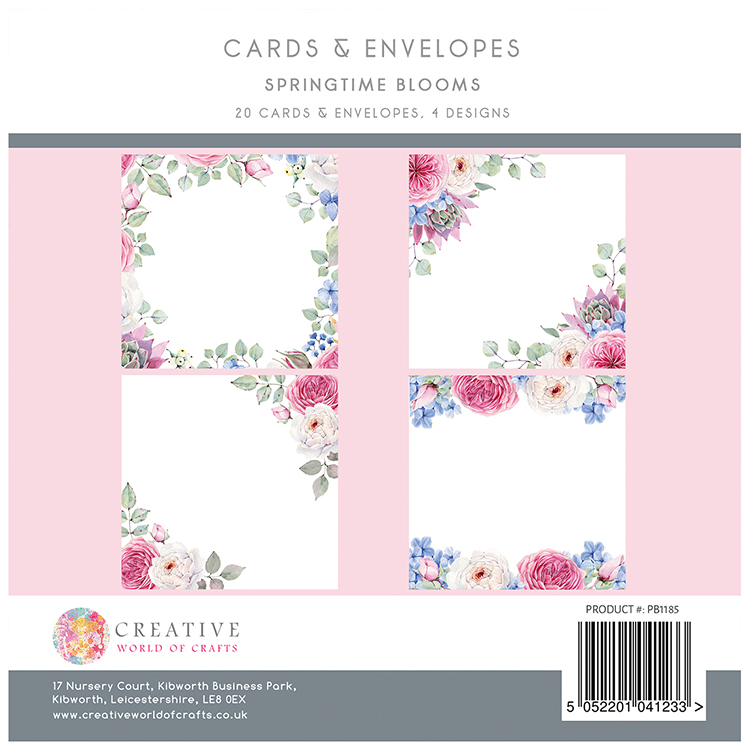 The Paper Boutique Springtime Blooms 8″ x 8″ Cards & Envelopes Collection