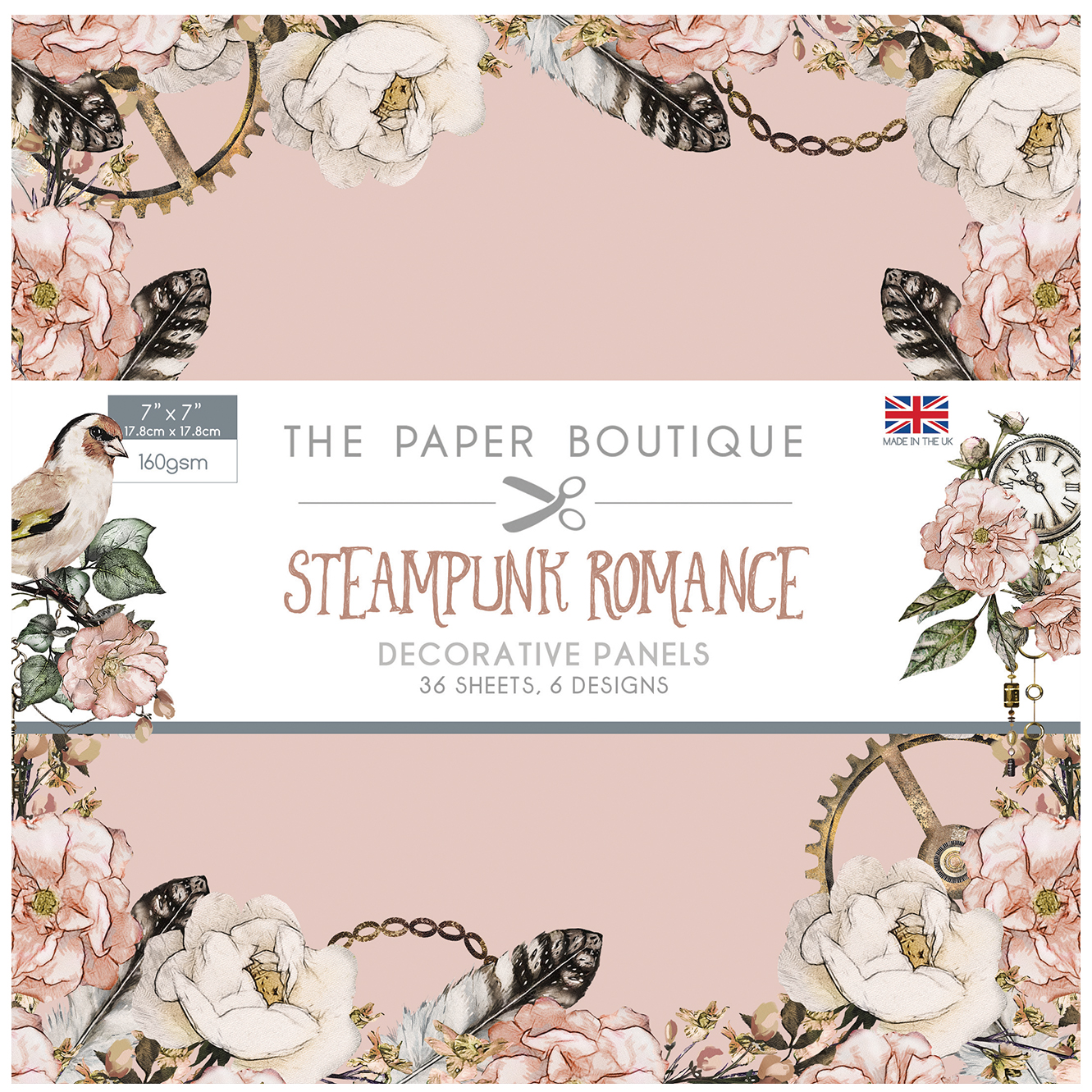 The Paper Boutique Steampunk Romance 7″ x 7″ Panel Pad