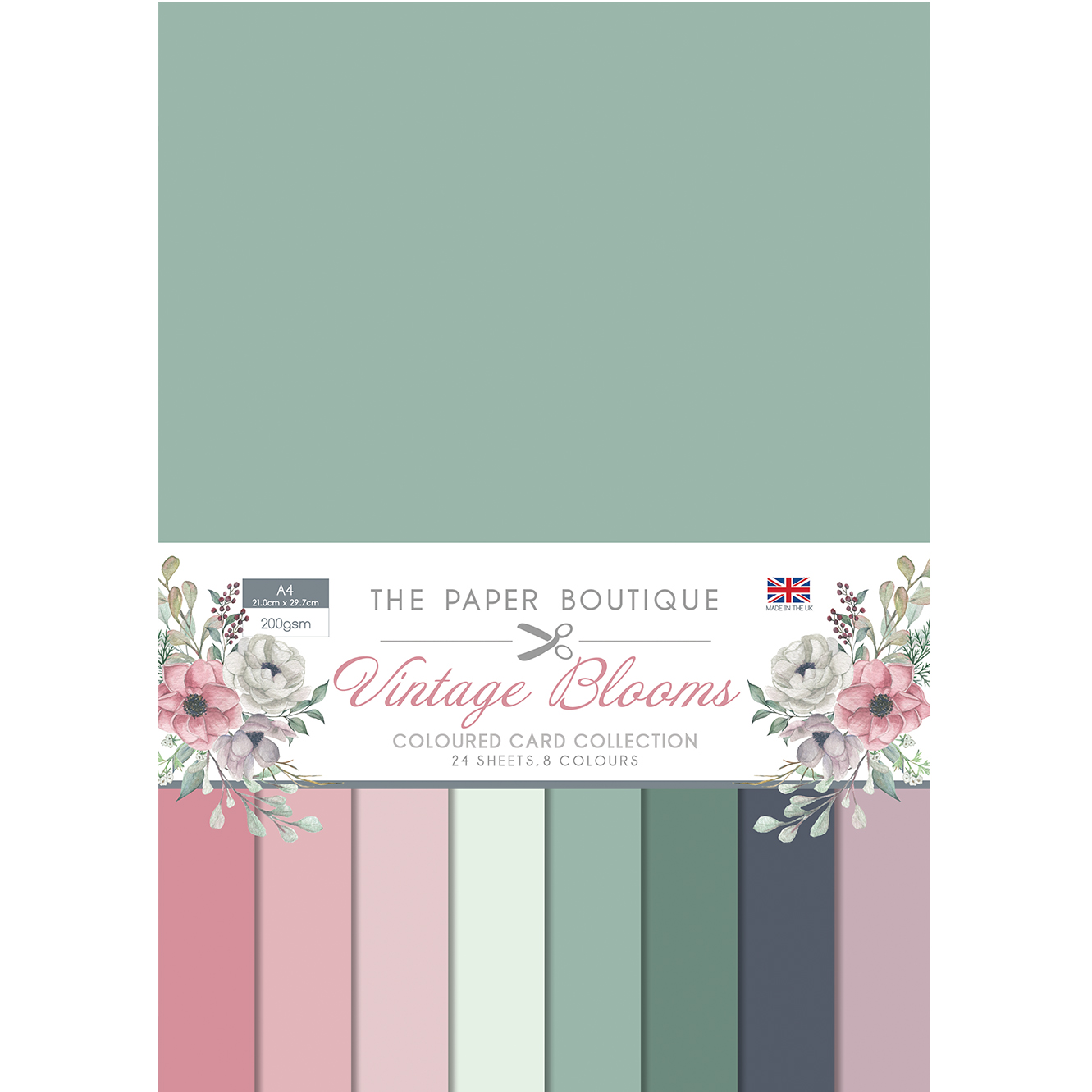 The Paper Boutique Vintage Blooms Coloured Card Collection