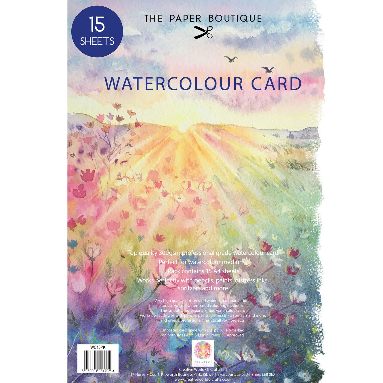The Paper Boutique Watercolour Card 15 x A4 Sheets