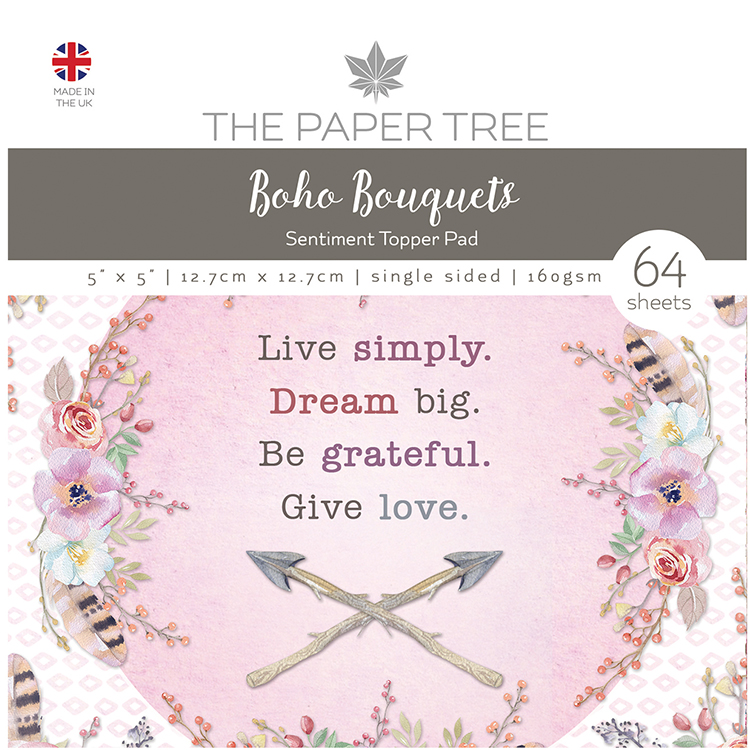 The Paper Tree Boho Bouquets 5″ x 5″ Sentiment Topper Pad