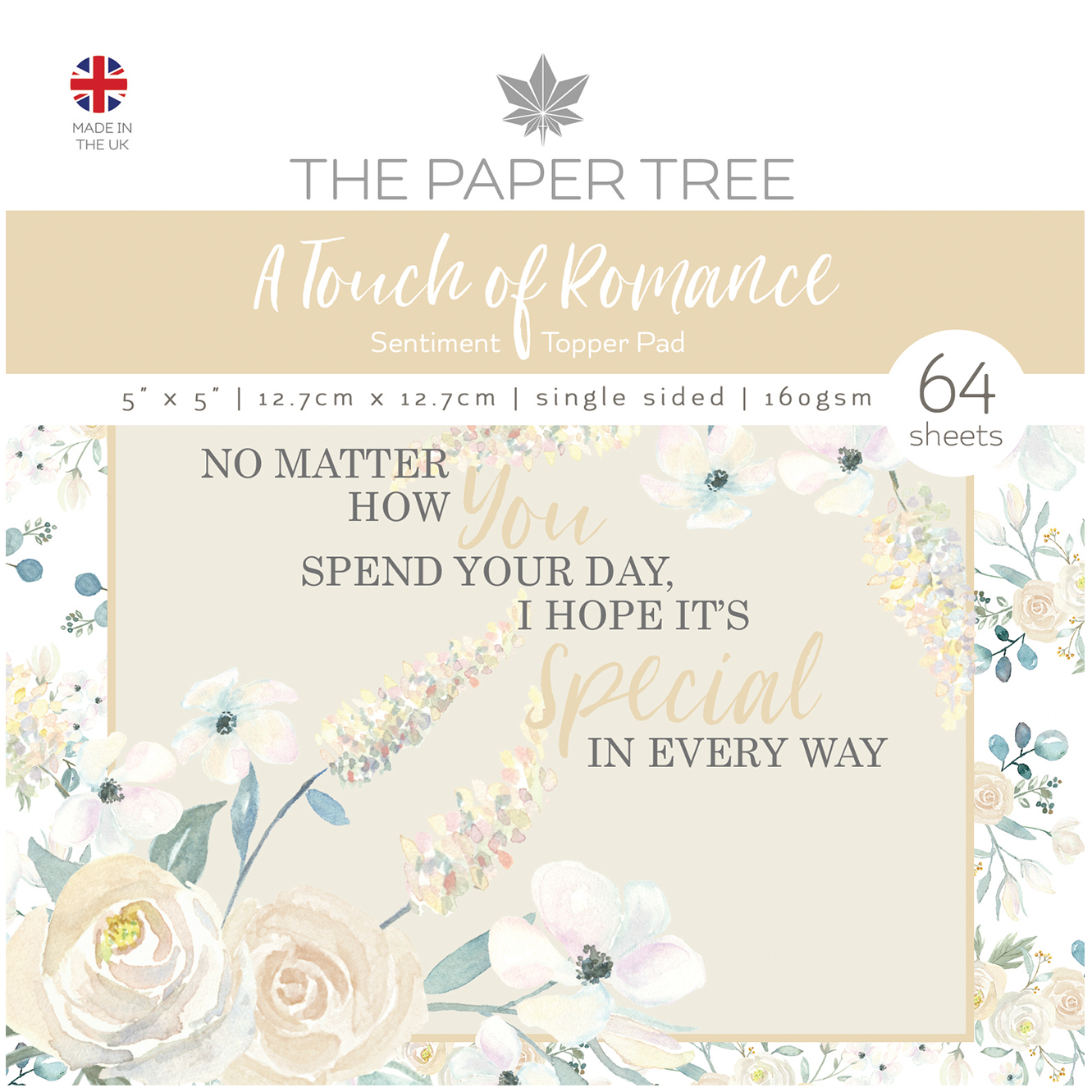 The Paper Tree A Touch of Romance 5″ x 5″ Sentiment Topper Pad
