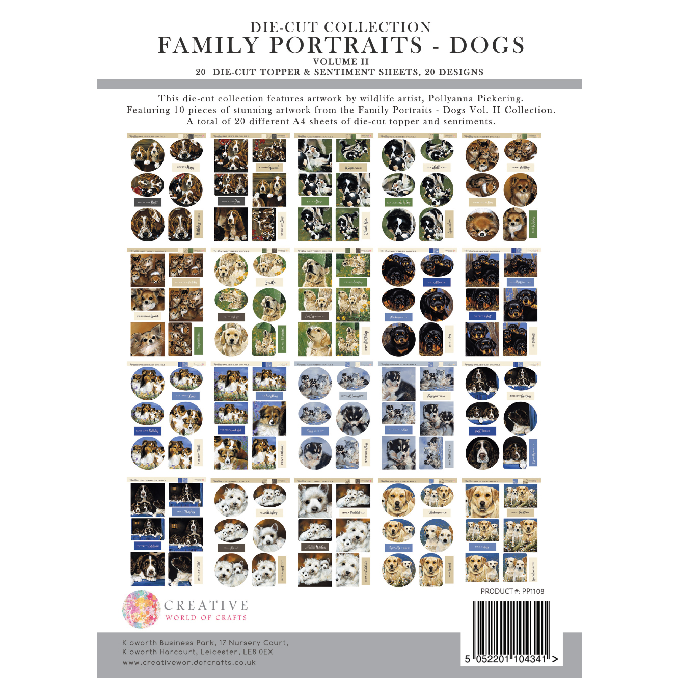 Pollyanna Pickering Family Portraits – Dogs Vol. II Die Cut Toppers and Sentiments Collection
