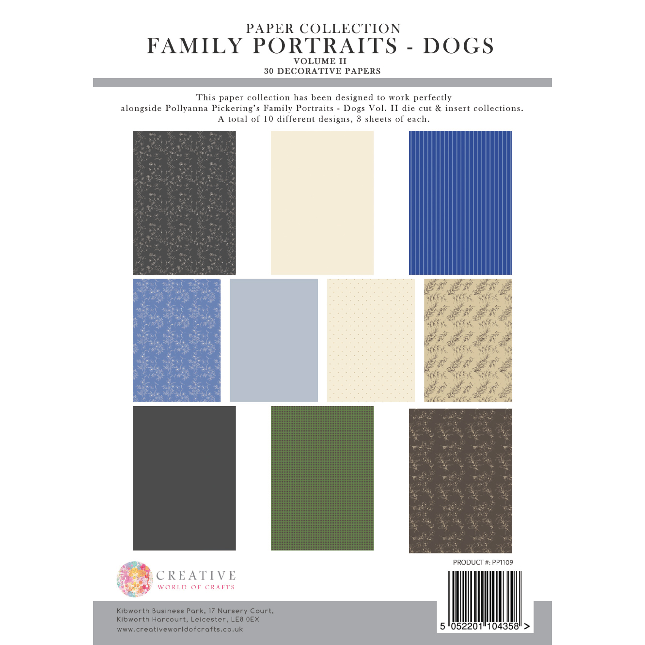 Pollyanna Pickering Family Portraits – Dogs Vol. II Backing Paper Collection